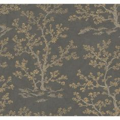 """Walt Disney Signature wallpaper collection- """"Meadow"""" in the steel gray/ochre colorway (I hope York comes out with a fabric line-- especially this print/color. Modern Wallpaper Designs, Designer Wallpaper, Walt Disney Signature, Ashford House, Tree Wallpaper, Burke Decor, Magnolia Homes, Decorating Your Home, Serenity"""