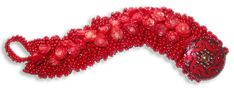 Red Ruffle Bracelet - A project from Bead-Patterns the Magazine Issue 40
