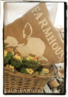 Decorative Burlap Pillow. Make it a Farmhouse kind of day!  LaurieAnna's Vintage Home, Canton, TX