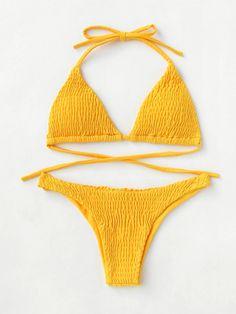 Tie Back Shirred Triangle Bikini Set