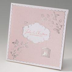 Lichtroze trouwkaart - past perfect bij de lichtroze trouwjurktrend van het najaar van 2015!