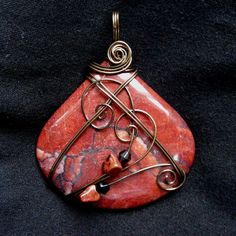 Red Picture Jasper Antique Brass Wire Wrapped Pendant Necklace | Flickr - Photo Sharing!