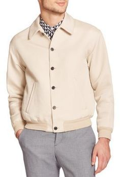 $775, Beige Bomber Jacket: Melindagloss Pique Cotton Bomber Jacket. Sold by Saks Fifth Avenue. Click for more info: https://lookastic.com/men/shop_items/288003/redirect