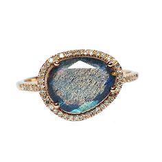 14 Karat Rose Gold 1 Labradorite: 1.84 cttw 53 Round Cut Diamonds: 0.13 cttw Size: 7 Stock #210-2000363