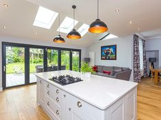 Roof Maker bi-fold doors complementing our pitched rooflights Curved Kitchen Island, Country Kitchen Island, Stools For Kitchen Island, Open Plan Kitchen Living Room, Kitchen Dinning, Kitchen Board, Dining Room, Kitchen Extension Lighting, Freestanding Kitchen