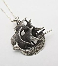catbird::Flotsam  Jetsam::Spanish Galleon ship necklace in Sterling Silver