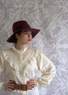1970s Victorian Inspired Lace Hippie Blouse $30.00