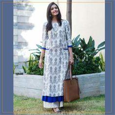 Off White Printed Long Straight Kurta with Ruffled Hem Salwar Designs, Blouse Designs, Long Kurta Designs, Indian Dresses, Indian Outfits, Ruffle Dress, Dress Up, Kurti Patterns, Indian Designer Wear