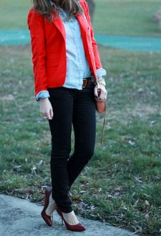 Red blazer, light blue button down, skinny jeans, and burgundy heels. I love this outfit!
