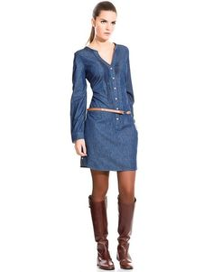 How To Wear Denim Dresses Ideas 28 – Fiveno Chambray Dress, Denim Outfit, Jeans Dress, I Dress, Shirt Dress, Denim Dresses, Denim Fashion, Boho Fashion, Fashion Dresses