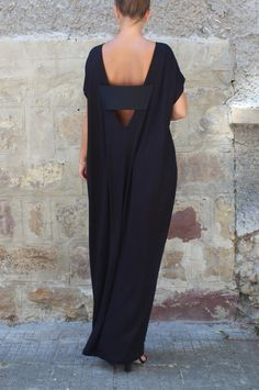 Caftan Black Dress Oversized dress Backless by cherryblossomsdress