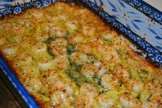 Easy Shrimp Scampi(ish) -- 1-1.5 lbs raw shrimp, 1 pkg dry Italian dressing mix, 1 stick unsalted butter. Cook in oven at 400 for about 12-15 mins. or in a skillet on medium high for about 3-5 minutes on each side.