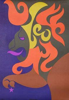 Leo Original Vintage Astrology Poster Zodiac