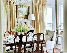 Burlap Curtain :: dining room... Woodhaven...  I think I could get away with this in my dining room!!!  or living room.... hmm