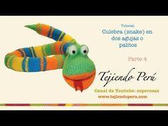 Culebra (snake) tejida en dos agujas o palitos (parte 4: ojos, lengua y acabados) - YouTube