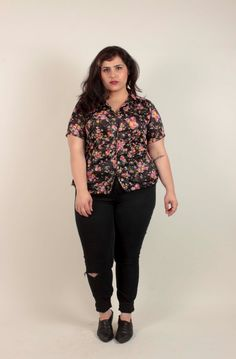 60s Floral Black Button Up Shirt/ Short Sleeve/ Polyester/Plus Size by VertigoChicago on Etsy