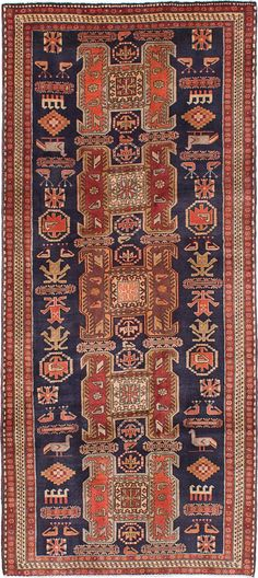 Hand-knotted Ardabil Dark Navy Wool Rug