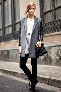 Open Front Worsted Trench Coat with Definitely an awesome purchase! Contrast Color Faux Leather Sleeves. Looking so cool in a trench coat with a dress or jeans! I love oasap.com! $107.95