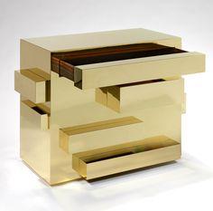 The bling-bling I love Golden chest «Monolith» _by Mattia Bonetti