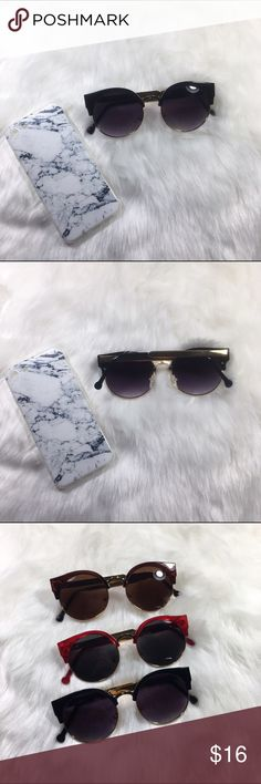Black & gold round cat eye sunglasses 🌸 Brand new boutique item  🌸 Beautiful black and gold frame retro round cat eye sunglasses  🌸 Has soft clear plastic nose padding for super comfortable wear.  🌸 White marble iPhone case sold separately. See other listing.  🌸 Also available with a red frame & a brown frame! 🌸Photos are my own, please do not steal.   🌸If you have any questions, please do ask!🌸        🌸Flovvers Boutique🌸 Accessories Glasses