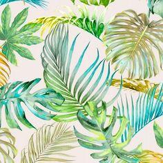 Verdure Honeydew | Tropical Honeydew  100 % Cotton  140 cm | 280cm Stuart Graham, Silver Mist, Conversational Prints, Tropical Forest, Little Monsters, Honeydew, Color Trends, Hibiscus, Sea Shells