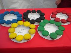 Alternative to a birthday cake. We made the Olympic Rings with cupcakes for an Olympics themed party!