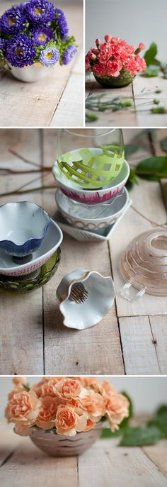 DIY: Mini flower bowls using frogs. Great tutorial at Design Mom.