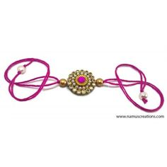 Namus Creations, Handmade White And Pink Kundan stone With Pearl chain Combination Rakhi Pink Dori , Dori Length 8 Inch. Rakhi Bracelet, Handmade Rakhi Designs, Rakhi Making, Pearl Chain, Bangles, Bracelets, Pearls, Stone, Crafts