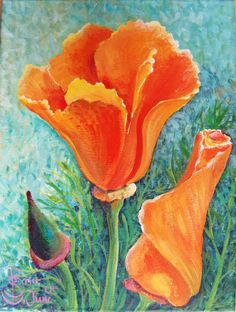 Californian Orange Poppy Painting by TheEnglishEclectic on Etsy, $3000.00