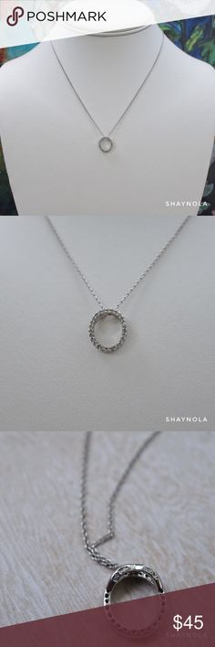 """14kt White Gold Circle Necklace w Crystal Accents A beautifully delicate circle necklace in 14kt white gold. Excellent condition. Stamped on back of necklace and chain. Chain length 18"""". White Gold Jewelry Necklaces"""