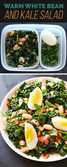 Warm White Bean and Kale Salad With Parsley and Hard-Boiled Egg   17 Delicious Make-Ahead Salads That Are Actually Filling