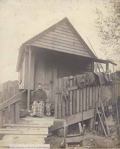 Angeline, daughter of Chief Seattle, at home, Seattle, Washington, ca. 1890