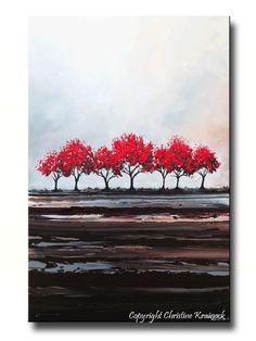 CUSTOM Original Art Abstract Painting Red Trees Large Textured Modern Autumn Fall Tree Landscape Canvas Wall Art-Christine