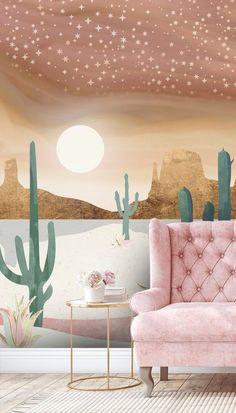 If you adore a beautiful starry night sky, then why not install this gorgeous Honey Sky mural in your home? Perfect for a living room, choose a pretty pink couch and pink roses to mirror the dusty pink tones in this dreamy desert wallpaper. #designerwallpaper #pinkwallpaper #livingroominspo Pink Wallpaper, Wall Wallpaper, Pink Couch, Green Furniture, White Carpet, Wall Ideas, Designer Wallpaper, Wall Murals, Modern Design