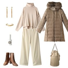 """本格的な寒さがやってくる前に、やはり今年もコートを1着アップデートさせたくなります。セレクトしたのは不動の人気ブランド「タトラス」から。カジュアルなイメージが強く、着ぶくれしがちなダウンコートですが、今シーズンより新たに登場したモデル""""SARMA""""ならリブでウエストをグッと引き締めることで美しいAラインがつくられるため、スタイルアップ効果も。インナーとボトムにはオフホワイトをあわせてクリーンな印象に。「ダニエラ&ジェマ」のレディなレースアップブーツを合わせるとエレガントな雰囲気に仕上がります。7cmヒールは脚長効果抜群で、安定感のある形状のヒールが歩きやすさも叶えます。"""