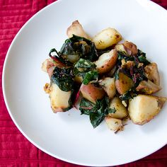 Hash or home fries? Rainbow chard and red potatoes make a great weekend brekkie or meatless Monday supper. Chard Recipes, Vegan Recipes, Yummy Recipes, Rainbow Chard, Home Fries, Potato Hash, Vegan Main Dishes, Just Eat It, Cereal Recipes