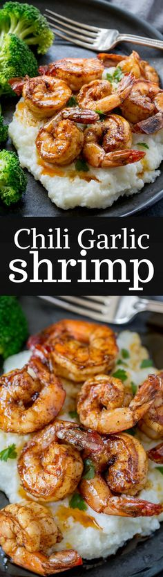 "Chili Garlic Shrimp - from ""The Weeknight Dinner Cookbook"" - a delicious, flavorful shrimp that is on the table in minutes!  www.savingdessert..."