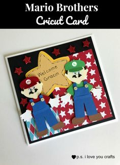 How to make a Mario Brothers Cricut Card using the Cricut Explore and several cartridges. I added lots of details with a black pen and button brads. Mario Brothers, Mario Bros, Video Game Party, Kid Character, Cricut Cards, Handmade Birthday Cards, Card Making Inspiration, Diy Doll, Birthday Party Themes