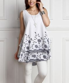Another great find on #zulily! White Floral Chiffon Sleeveless Layered Tunic - Plus #zulilyfinds