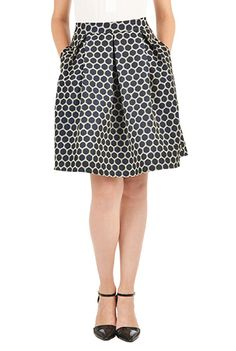 Plus Size Polka Dot Jacquard Pleated Skirt