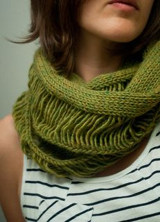 "Destroyed Cowl by Martha Merzig~ ""An easy drop-stitch cowl/""infinity"" scarf. All the exciting stuff happens at the very last row!"""