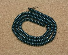 Dark Teal Blue Hematite Rondelle Beads  Shiny Smooth by ABOSBeads