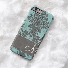 iPhone 6 Cases | Vintage Damask Pattern with Monogram iPhone 6 Case