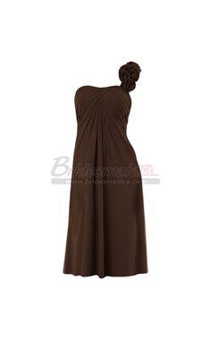 #bridesmaiddresses One Shoulder Empire Waist Chiffon Short Brown Bridesmaid Dress BDS-CA308