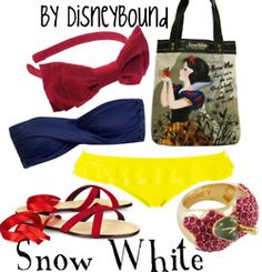 Disney Bound: Snow White (would be better if the bikini top had straps! Snow White Outfits, Disney Dress Up, Disney Clothes, Disney Inspired Fashion, Disney Fashion, Estilo Disney, Disney Bound Outfits, Disney Couture, Florida Girl