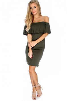 Olive Off The Shoulder Short Sleeve Ruffled Casual Dress