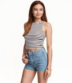 Black/white striped. Short jersey tank top with a racer back.
