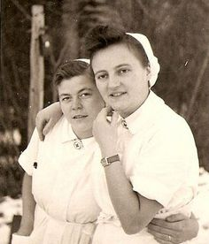 Two German Red Cross Nurses. WWII.  I have never given much thought to the nurses on the other side. I honestly wasn't aware Germany had Red Cross too. I guess no matter who the wounded are they still bleed red.