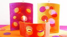 Velas caladas. Unique Candles, Pillar Candles, Candle Holders, Google, Baptism Candle, Quilt Cover, How To Make, Spanish Colors, Paraffin Wax