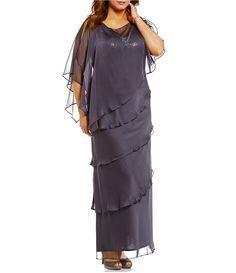 03d9da62c97 Ignite Evenings Plus Sequin-Bodice Capelet Tiered Gown Plus Dresses